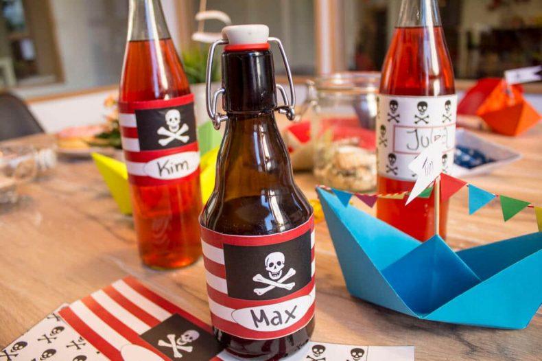 Piratengeburtstag Flaschen Banderolen Vorlage