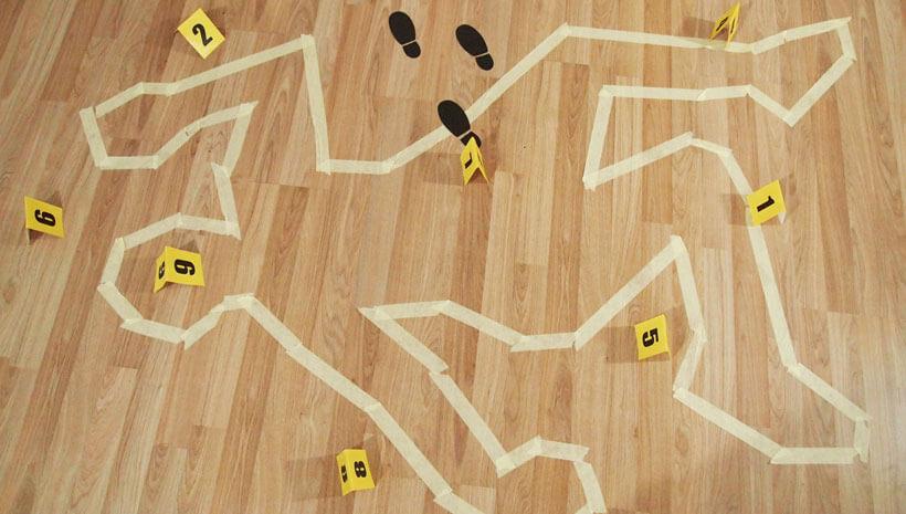 Detektiv-Kindergeburtstag-Tatortnummern-Boden