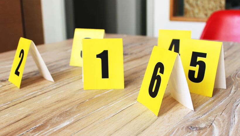 Detektiv-Kindergeburtstag-Tatortnummern