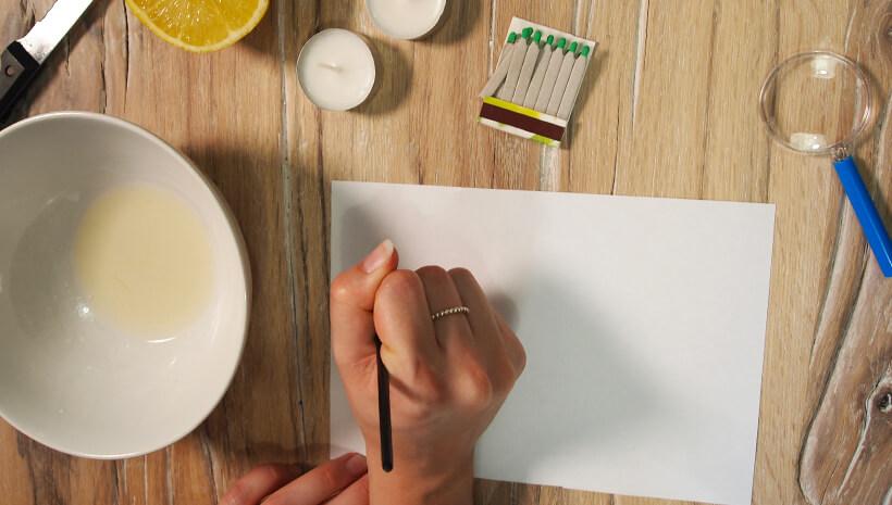Detektiv-Kindergeburtstag-Zitronensaft-Geheimschrift-Schritt4