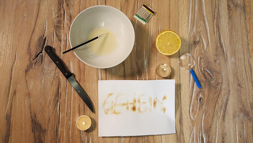 Detektiv-Kindergeburtstag-Zitronensaft-Geheimschrift