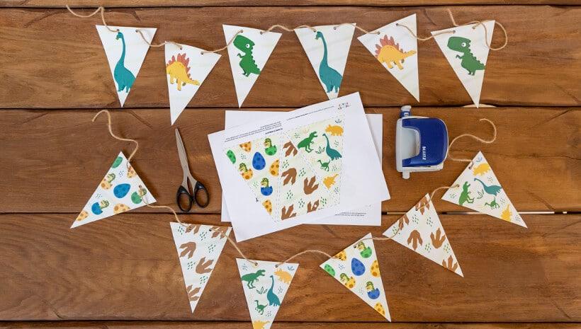 Dino-Kindergeburtstag-Deko-Wimpelketten