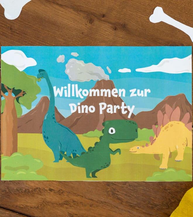 Dino-Kindergeburtstag-Wilkommensschild-basteln