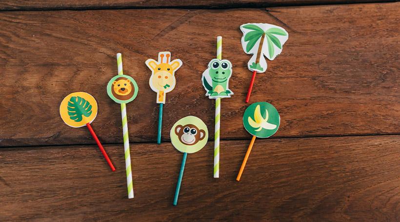 Dschungel-Kindergeburtstag-Dekopicker-Affe-Tiere-Safari-Loewe