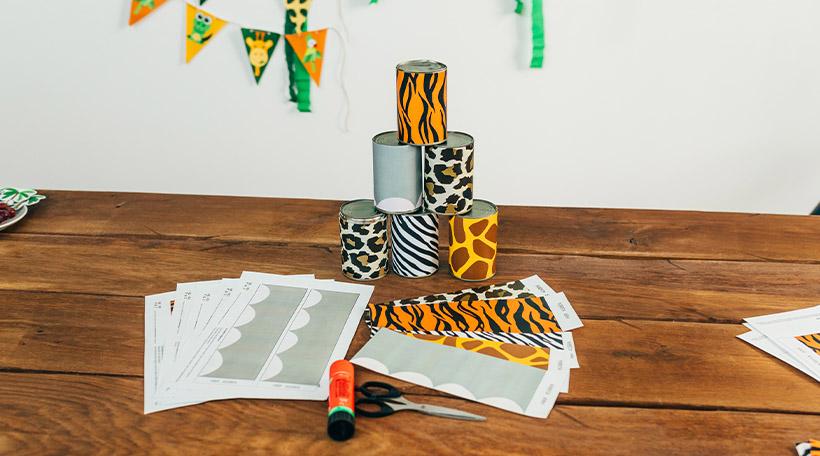 Dschungel-Kindergeburtstag-Dosenbanderole-Spiele-Dosenwerfen-Druckvorlage