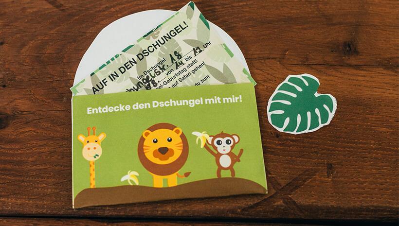 Dschungel-Kindergeburtstag-Falteinladung