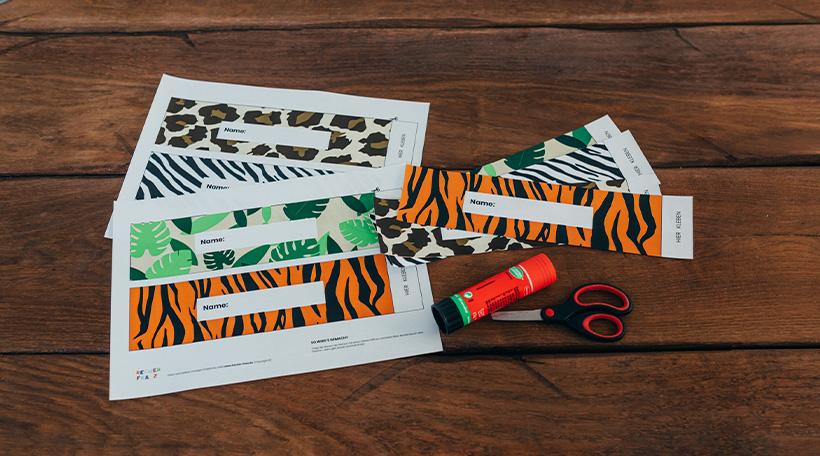 Dschungel-Kindergeburtstag-Flaschenbanderole-Tiermuster