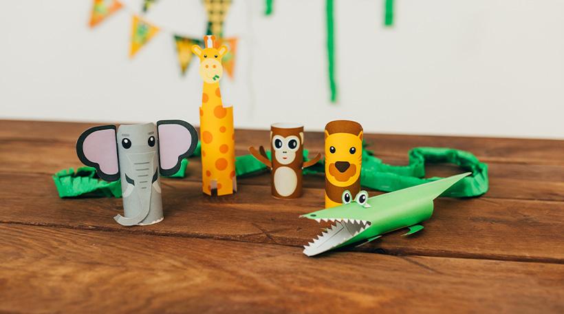Dschungel-Kindergeburtstag-Klapapierrollen-Tiere-Basteln