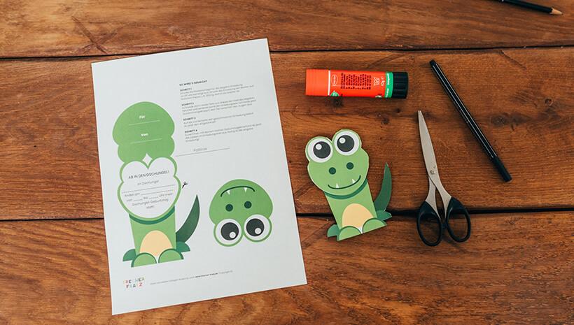 Dschungel-Kindergeburtstag-Krokodil-Einladung