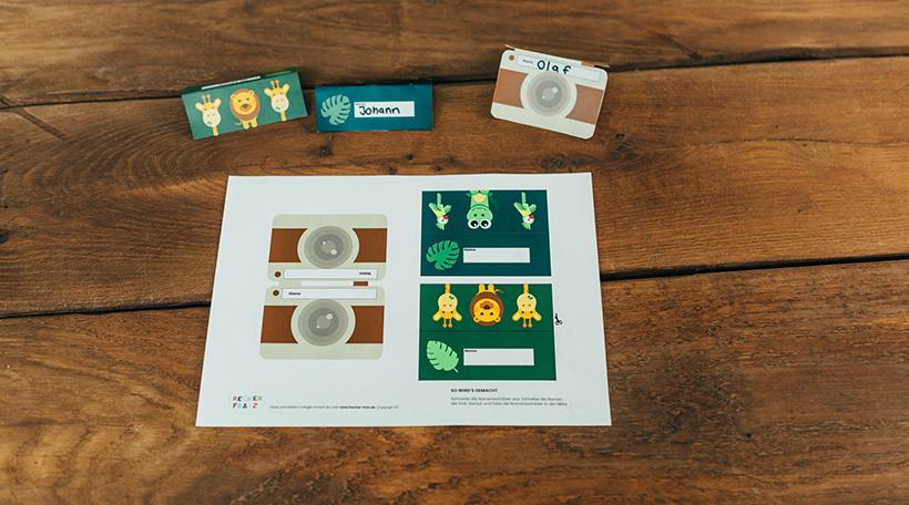 Dschungel-Kindergeburtstag-Namensschild-Kamera-Tiere-Safari-Voegel-Vorlagen
