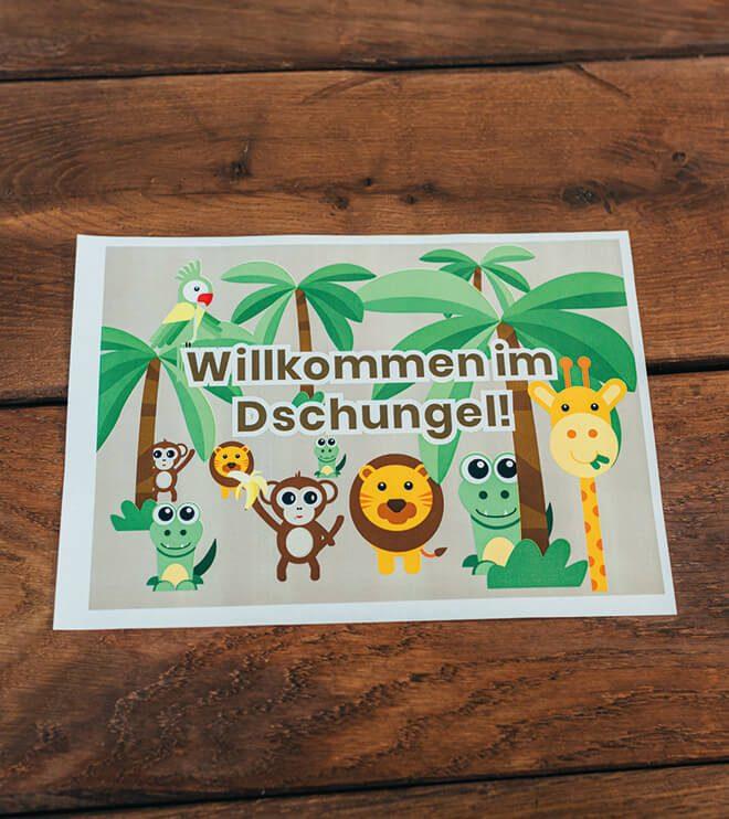 Dschungel-Kindergeburtstag-Willkommensschild-Dschungel