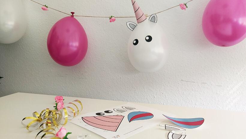 Einhorn-Kindergeburtstag-Einhorn-Luftballonkette