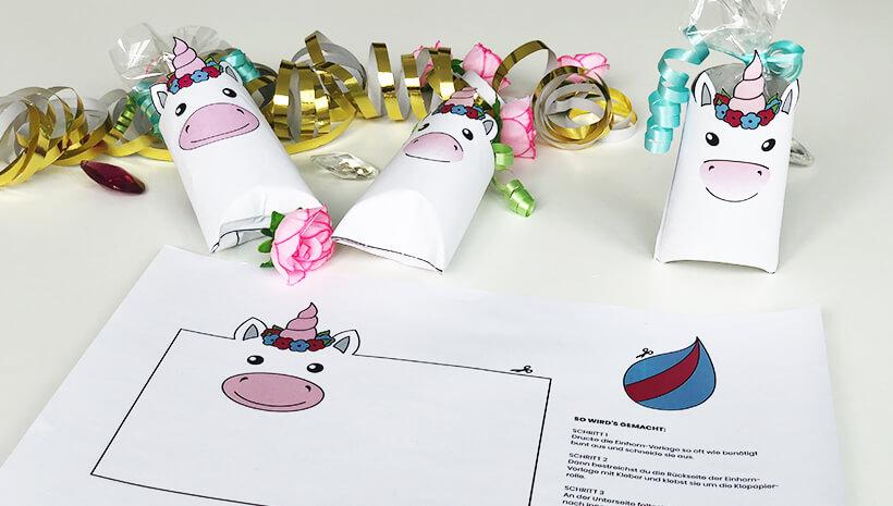 Einhorn-Kindergeburtstag-Einhorn-Schachtel-Bastelvorlage