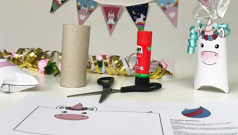 Einhorn-Kindergeburtstag-Einhorn-Schachtel-basteln