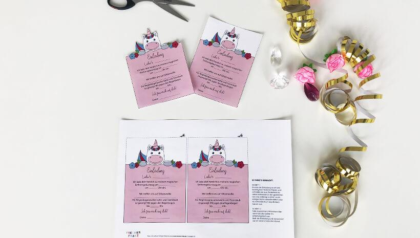 Einhorn-Kindergeburtstag-Einladung-Postkarte_Bastelvorlage