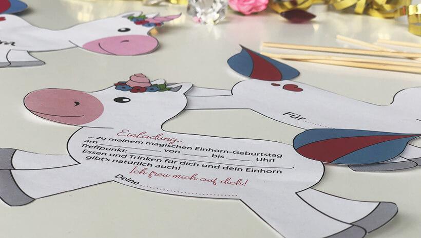 Einhorn-Kindergeburtstag-Einladung