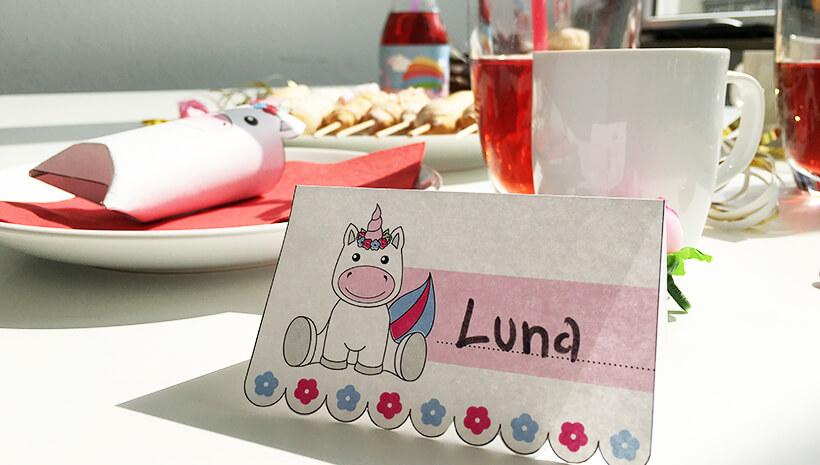Einhorn-Kindergeburtstag-Namensschild