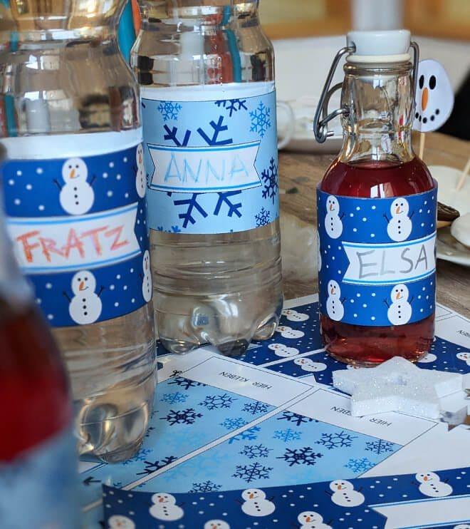 Eiskoenigin Kindergeburtstag Flaschenbanderole Bastelvorlage