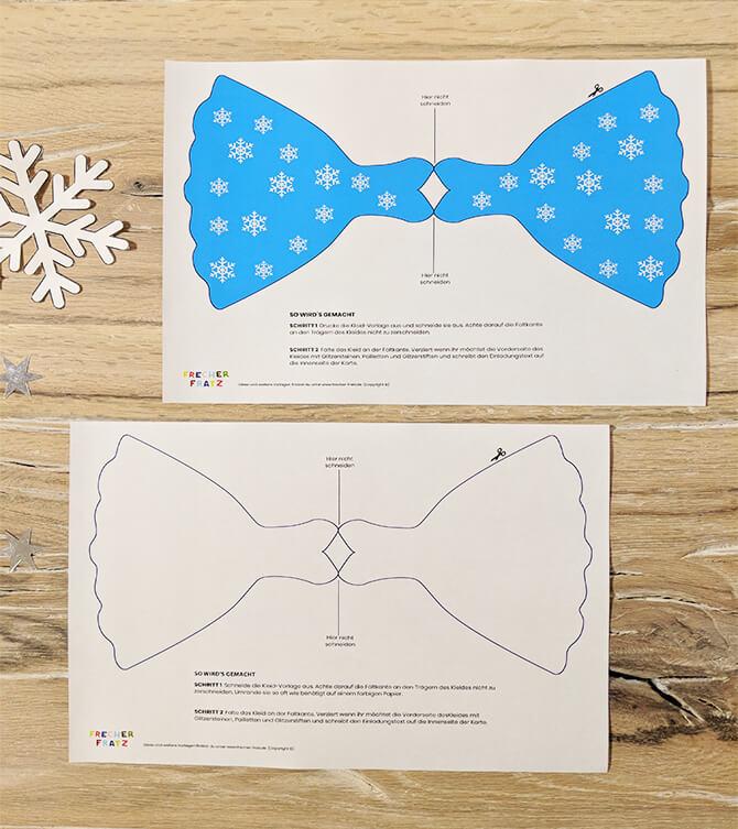 Eiskoenigin Kindergeburtstag Einladung Kleid Bastelvorlage