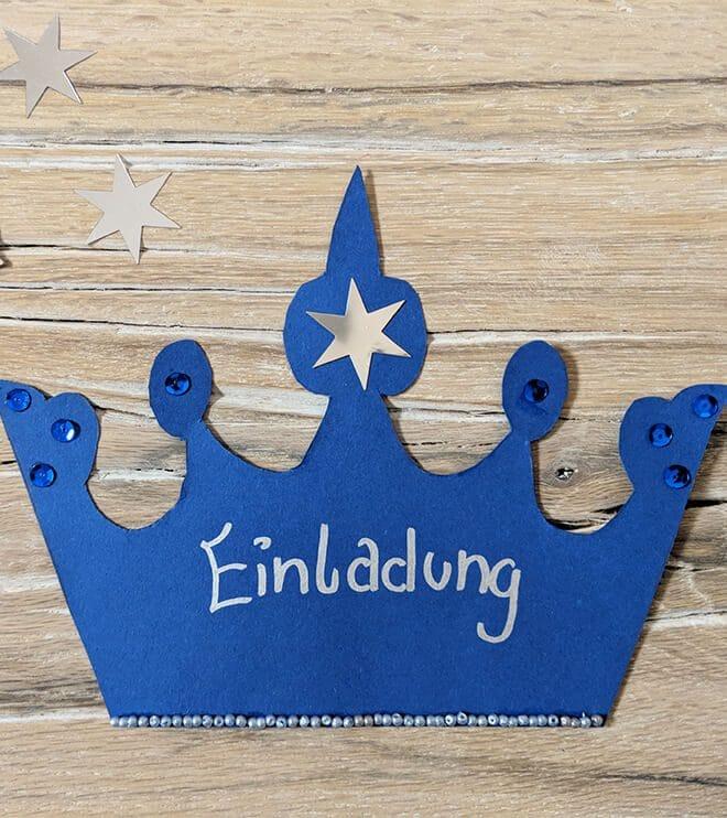 Eiskoenigin Kindergeburtstag Einladung Krone Bastelvorlage
