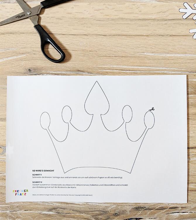 Eiskoenigin Kindergeburtstag Einladung Krone