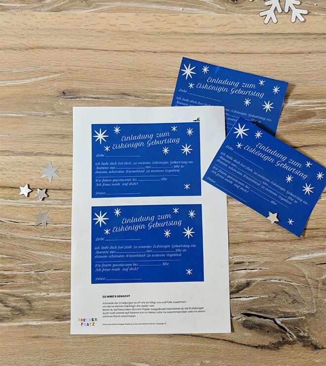 Eiskoenigin Kindergeburtstag Einladung Postkarte