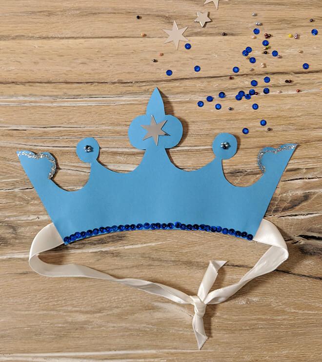 Eiskoenigin Kindergeburtstag Krone Bastelvorlage