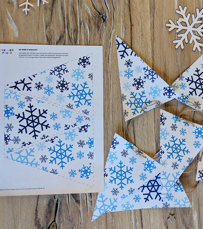 Eiskoenigin Kindergeburtstag Wimpelkette Schneeflocken Bastelvorlage