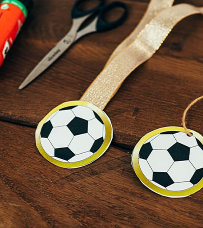 Fussball Kindergeburtstag Bastelvorlage Medaille