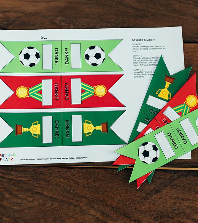 Fussball Kindergeburtstag Bastelvorlage Dankeetiketten