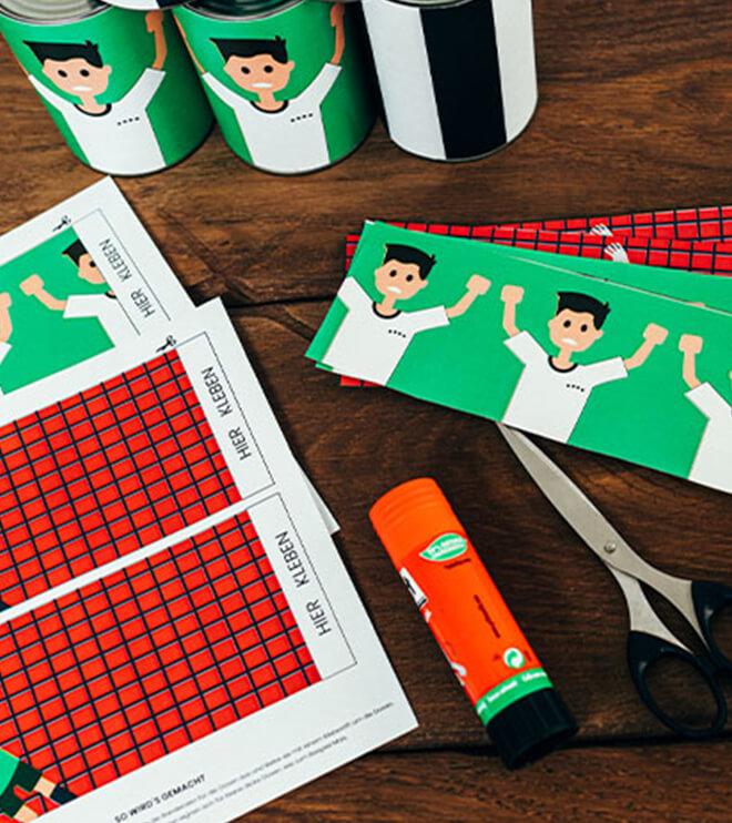 Fussball Kindergeburtstag Bastelvorlage Dosenwerfen