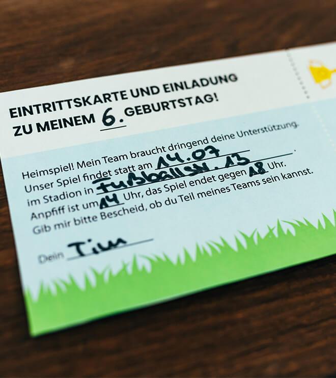 Fussball Einladung Eintrittskarte