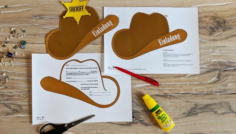 Indianer Kindergburtstag Cowboyhut Einladung