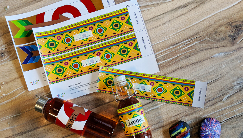 Indianer Kindergburtstag Flaschenbanderole basteln