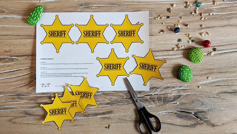 Indianer-Kindergeburtstag-Cowboy-Sheriffstern-basteln