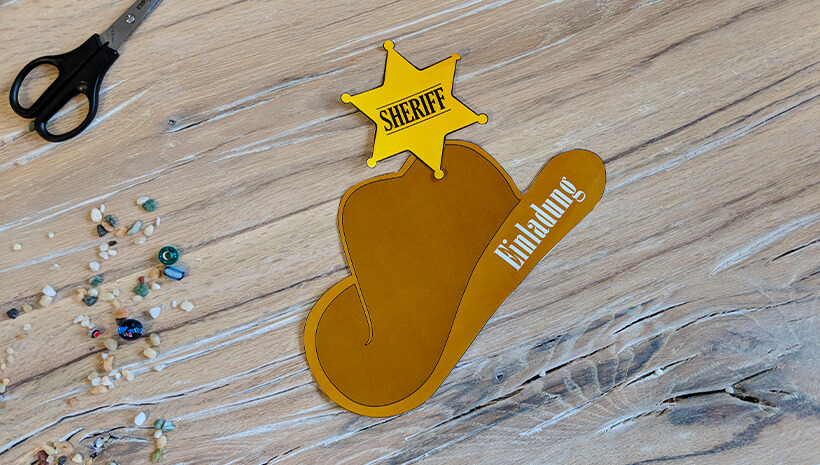 Indianer Kindergeburtstag Cowboyhut Einladung