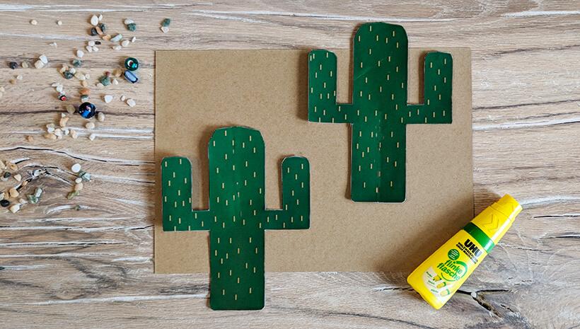 Indianer Kindergeburtstag Deko Kaktus Schritt1