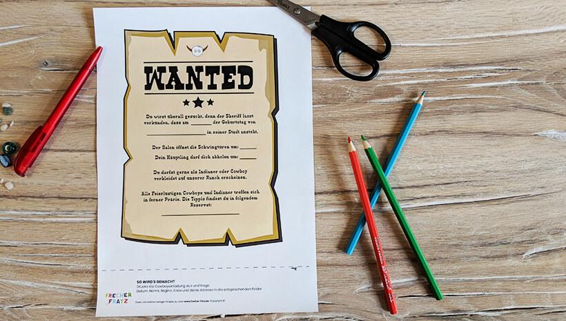 Indianer Kindergeburtstag Einladung Wanted Plakat