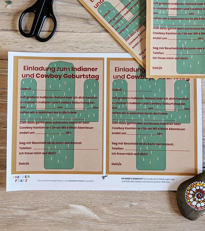 Indianer Kindergeburtstag Bastelvorlage Kaktus Einladung
