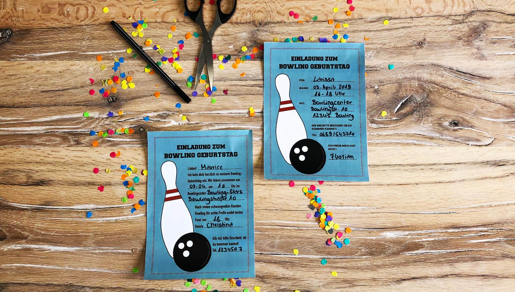 Kindergeburtstag-Bowling-Einladung-Postkarte