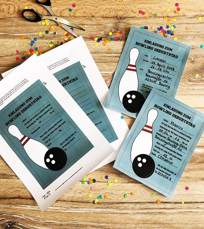 Kindergeburtstag-Bowling-Einladung-Set