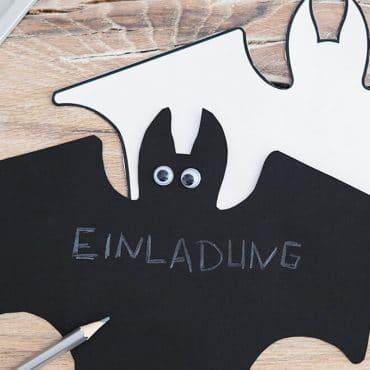 Kindergeburtstag Halloween Einladung Fledermaus