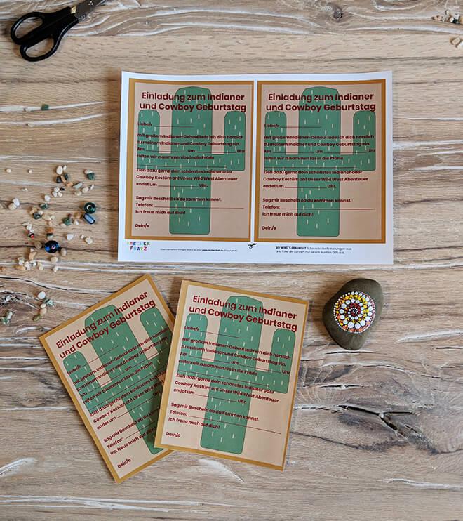 Kindergeburtstag-Indianer-Einladung-Kaktus