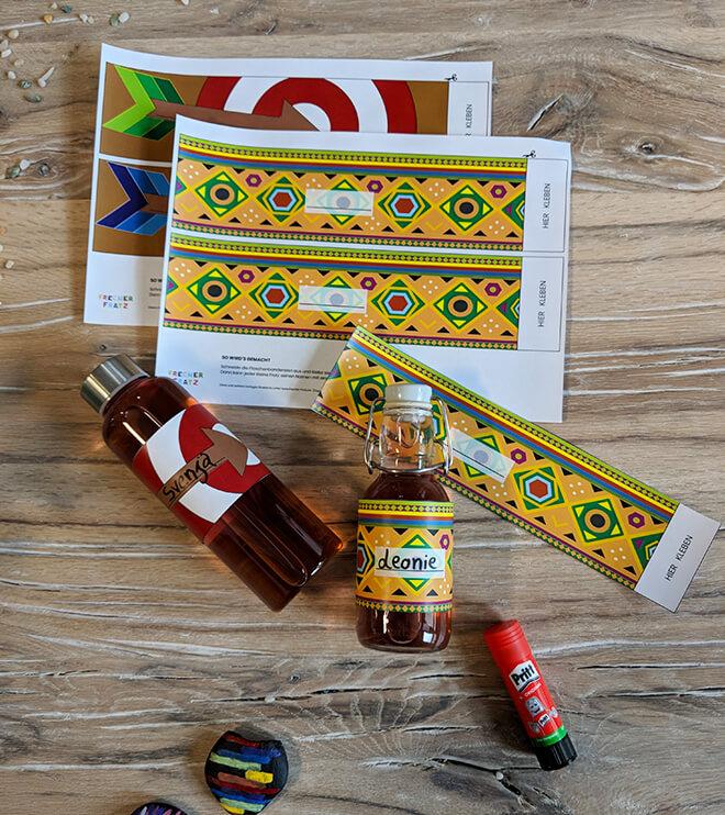 Kindergeburtstag-Indianer-Flaschenbaderolen