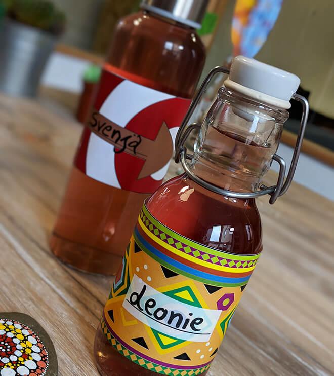 Kindergeburtstag-Indianer-Flaschenbanderolen