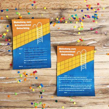 Kindergeburtstag-Schwimmbad-Einladung