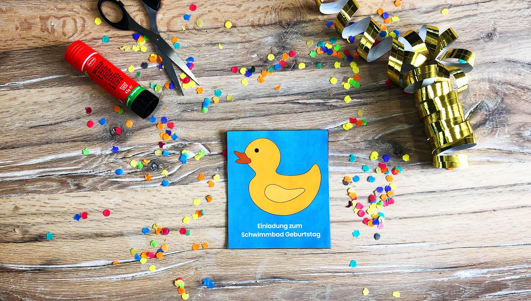 Kindergeburtstag-Schwimmbad-Einladung-Ente