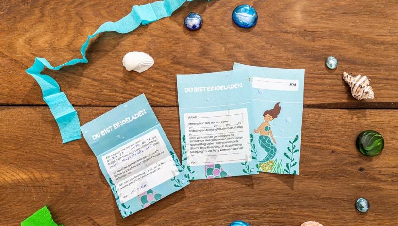 Meerjungfrau-Kindergeburtstag-FaltEinladung-Schritt-0