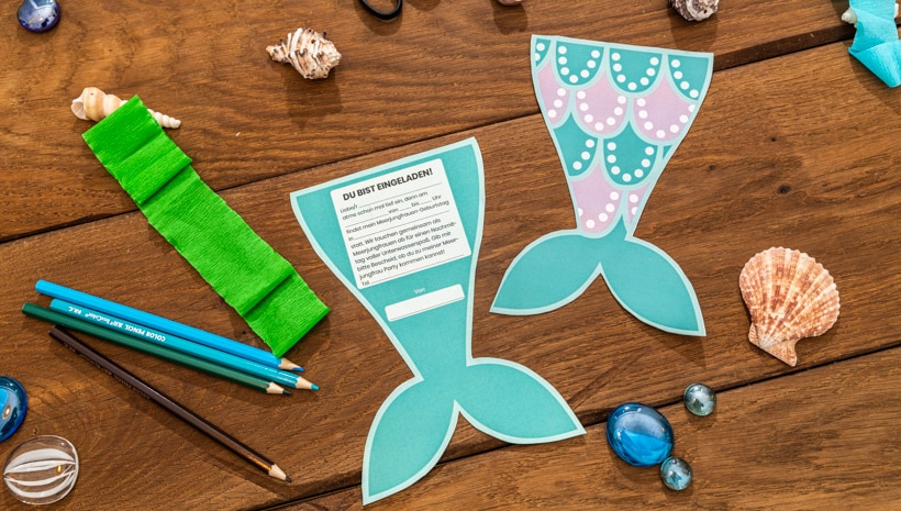 Meerjungfrau-Kindergeburtstag-FlossenEinladung-Schritt-1