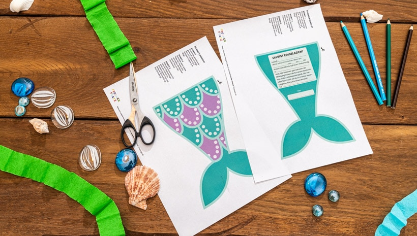 Meerjungfrau-Kindergeburtstag-FlossenEinladung-Schritt-2